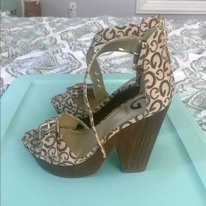 Brand new Guess platform sandals, never used